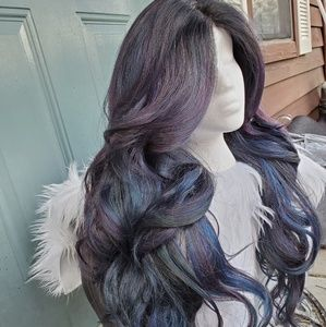 Blue Purple Oil Slick Lace Front Wig lovely